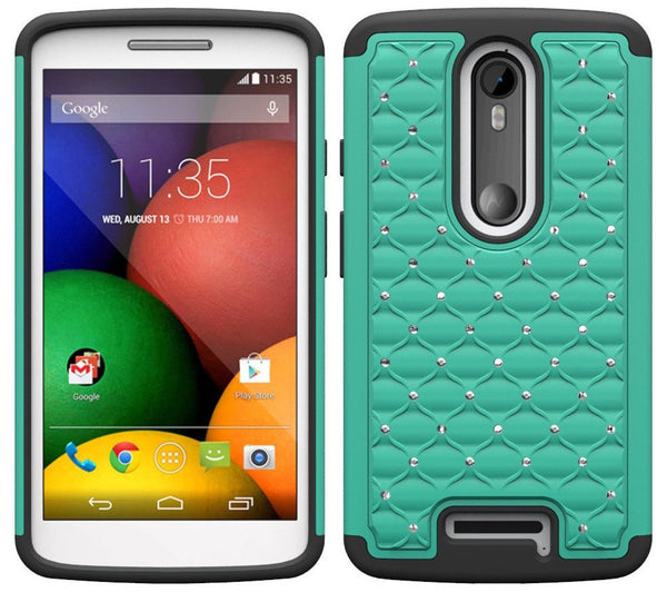 Motorola Droid Turbo 2 Case | Moto X Force Case | Kinzie Bounce Rhinestone Case - teal black - www.coverlabusa.com