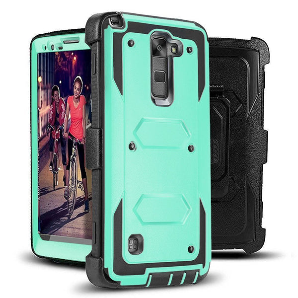 LG Stylo 2 Case, LG Stylo 2 V Case, Triple Protection 3-1 w/ Built in Screen Protector Heavy Duty Holster Shell Combo Case - Teal