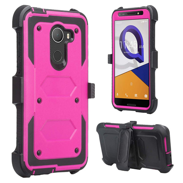 Jitterbug Smart 2, Smart2, A30 Plus, A30 Fierce, Tmobile REVVL, A30 Walters Case, Triple Protection 3-in-1 Heavy Duty Holster Shell Combo Clip Cover - Purple - www.coverlabusa.com