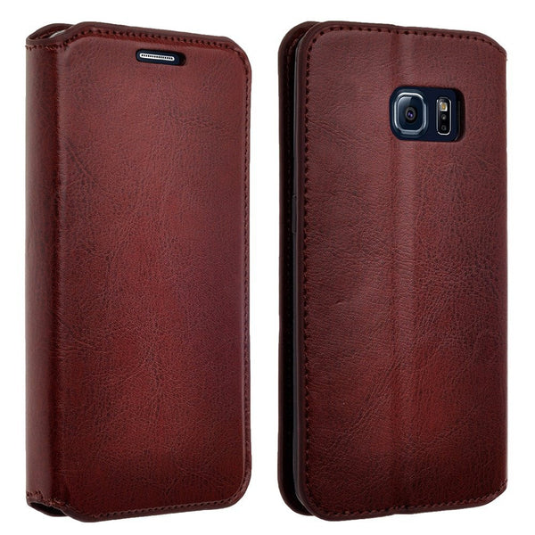 samsung galaxy S6 leather wallet case - brown - www.coverlabusa.com