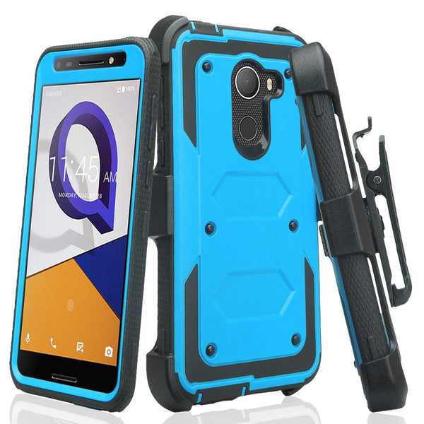 Jitterbug Smart 2, Smart2, A30 Plus, A30 Fierce, Tmobile REVVL, A30 Walters Case, Triple Protection 3-in-1 Heavy Duty Holster Shell Combo Clip Cover - Blue - www.coverlabusa.com
