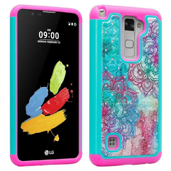 lg stylo 2 diamond hybrid case - teal flower - www.coverlabusa.com