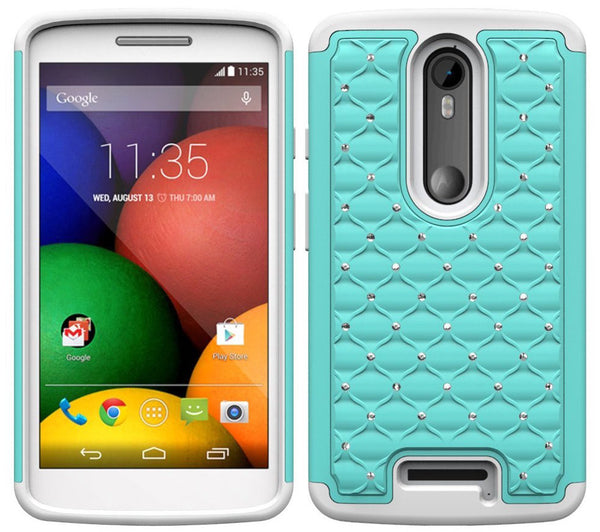 Motorola Droid Turbo 2 Case | Moto X Force Case | Kinzie Bounce Rhinestone Case - teal white - www.coverlabusa.com