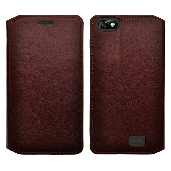 apple iphone SE 5S 5 leather wallet case - brown - www.coverlabusa.com