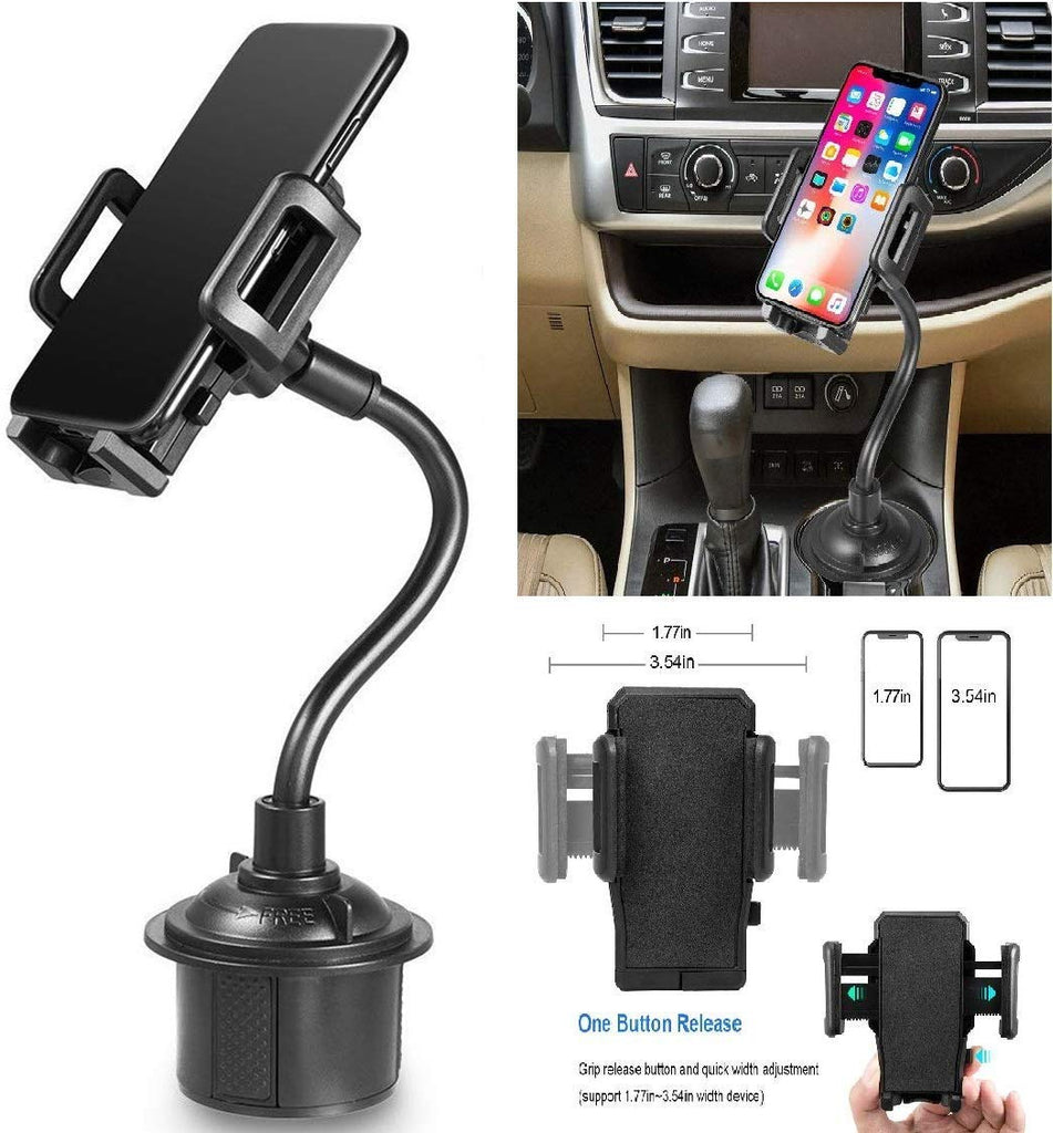 Universal Car Cup Holder Phone Mount & 360° Rotatable Cradle for Galaxy Note 8/Note9/S8/S9/S10e/S10/S10 Plus/iPhone Xs Max/Xr/Xs/7/6 Plus Cup Mount