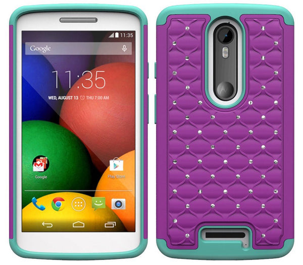 Motorola Droid Turbo 2 Case | Moto X Force Case | Kinzie Bounce Rhinestone Case - purple teal - www.coverlabusa.com