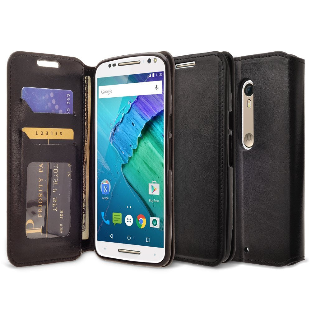 size 40 b9532 83720 Motorola Droid Turbo 2 Case | Moto X Force Case | Kinzie Bounce Case, Pu  Leather Magnetic Fold[Kickstand] Wallet Case with ID & Card Slots for ...