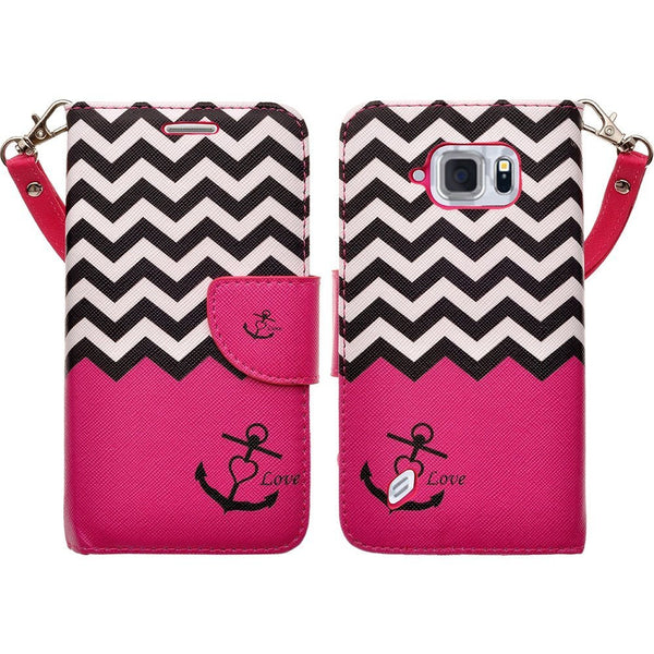 Galaxy S6 Active Wallet Case - Hot Pink Anchor - www.coverlabusa.com