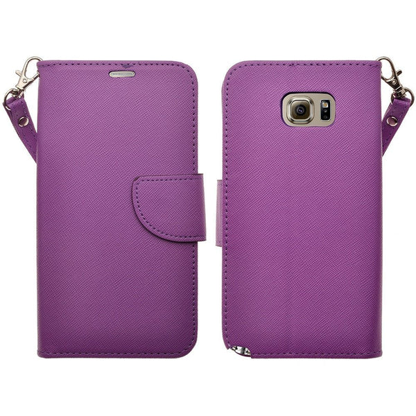samsung galaxy note 5 pu leather wallet - purple - www.coverlabusa.com