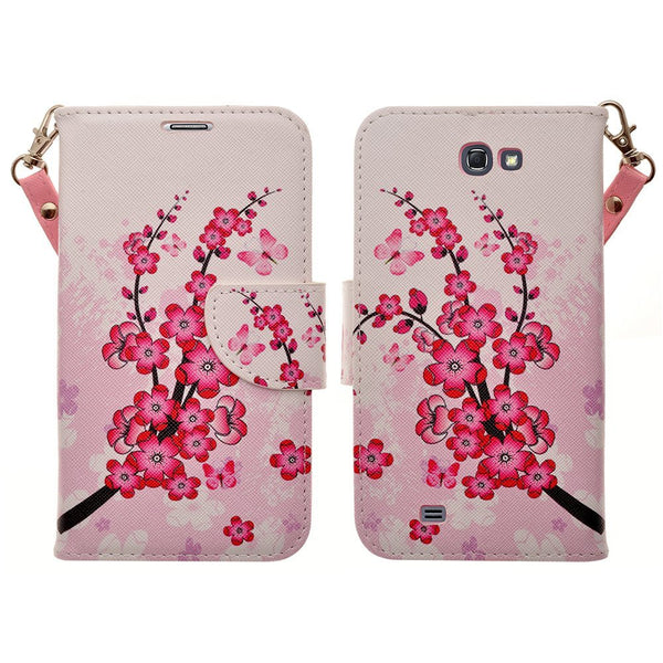 samsung galaxy note 2 leather wallet case - cherry blossom - www.coverlabusa.com