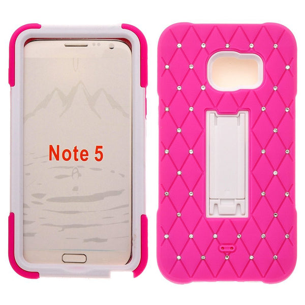 Samsung Galaxy Note 5 Case - diamond hybrid hot pink white - www.coverlabusa.com