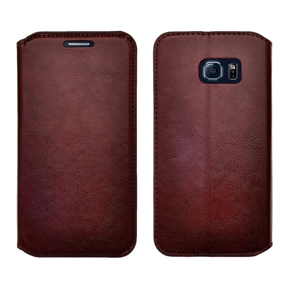 samsung galaxy S6 Edge magnetic flip fold wallet case - Brown - www.coverlabusa.com