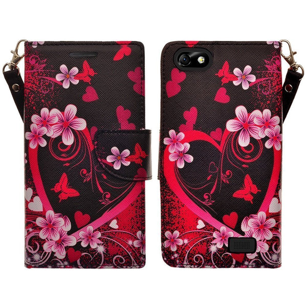 apple iphone SE 5S 5 leather wallet case - heart butterflies - www.coverlabusa.com