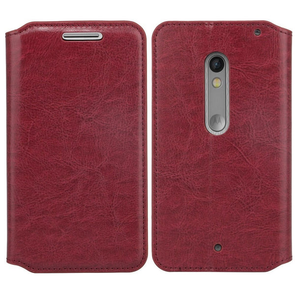 Motorola Droid Turbo 2 Case | Moto X Force Case | Kinzie Bounce Pu Leather Wallet Case - maroon - www.coverlabusa.com