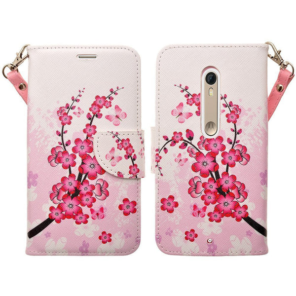 Motorola Droid Turbo 2 Case | Moto X Force Case | Kinzie Bounce Pu Leather Wallet Case - cherry blossom - www.coverlabusa.com