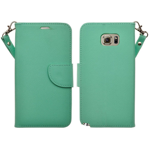 samsung galaxy note 5 pu leather wallet - teal - www.coverlabusa.com