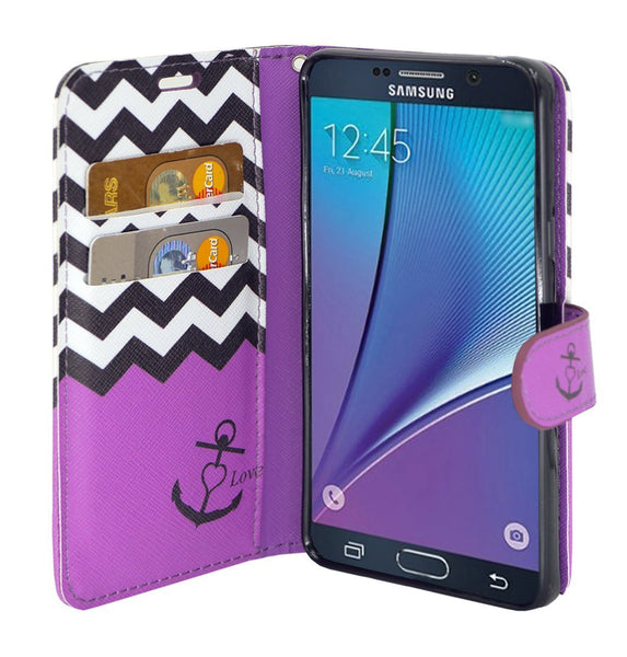 samsung galaxy note 5 case - Pu leather wallet - Purple Anchor - www.coverlabusa.com