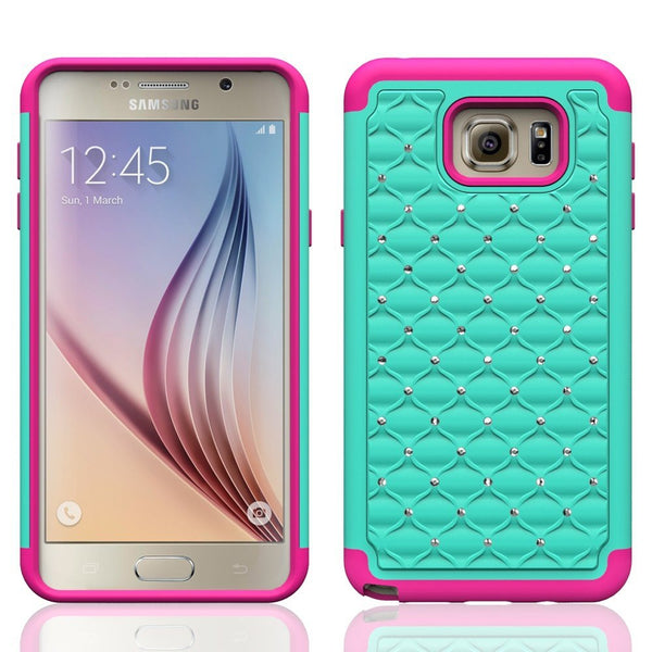 samsung note 5 case - diamond hybrid - teal hot pink - www.coverlabusa.com