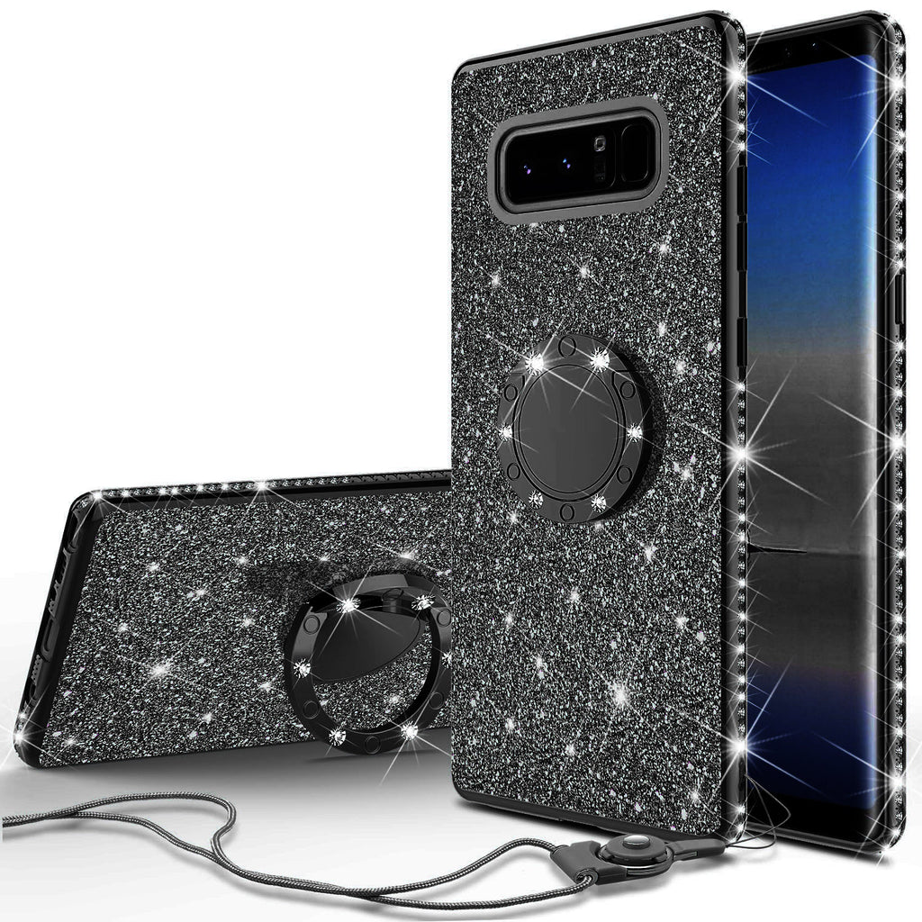 detailed pictures f1941 38bae Samsung Galaxy Note 8 Case, Glitter Cute Phone Case Girls with  Kickstand,Bling Diamond Rhinestone Bumper Ring Stand Sparkly Luxury Clear  Thin Soft ...