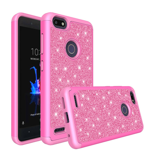 ZTE Blade Force Glitter Hybrid Case - Hot Pink - www.coverlabusa.com