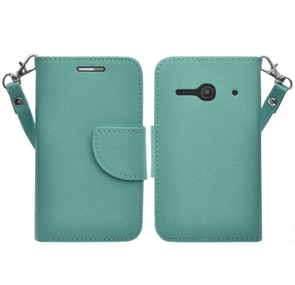 Alcatel Onetouch Evolve 2 Pu leather wallet case - Teal - www.coverlabusa.com