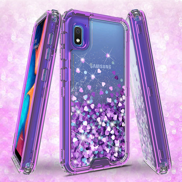 hard clear glitter phone case for samsung galaxy a10e - purple - www.coverlabusa.com