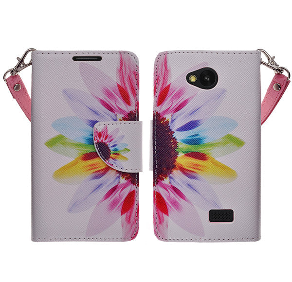 LG F60 Wallet Case [Card Slots + Money Pocket + Kickstand] and Strap - Vivid Sunflower