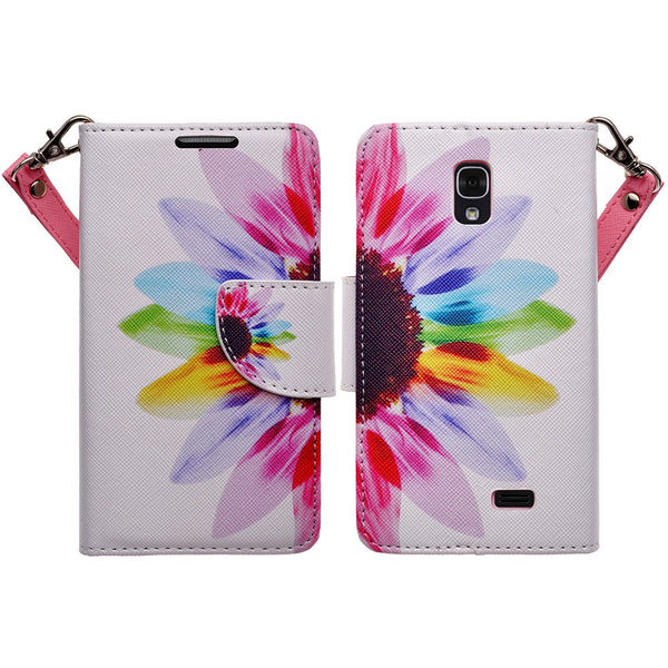 LG F70 Wallet Case [Card Slots + Money Pocket + Kickstand] and Strap - Vivid Sunflower