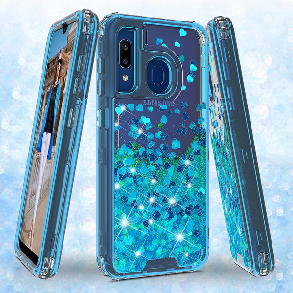 hard clear glitter phone case for samsung galaxy a20 - teal - www.coverlabusa.com