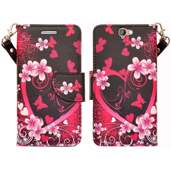 HTC One A9 leather wallet case - heart butterflies - www.coverlabusa.com