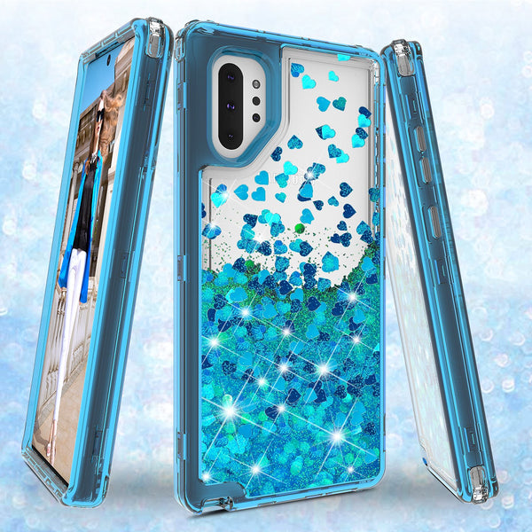 hard clear glitter phone case for samsung galaxy note 10 plus - teal - www.coverlabusa.com