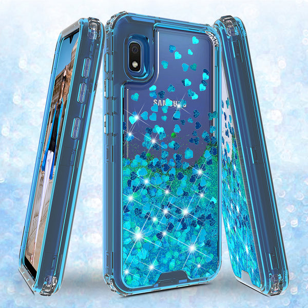 hard clear glitter phone case for samsung galaxy a10e - teal - www.coverlabusa.com