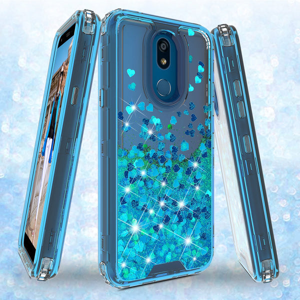 hard clear glitter phone case for apple lg stylo 5 - teal - www.coverlabusa.com