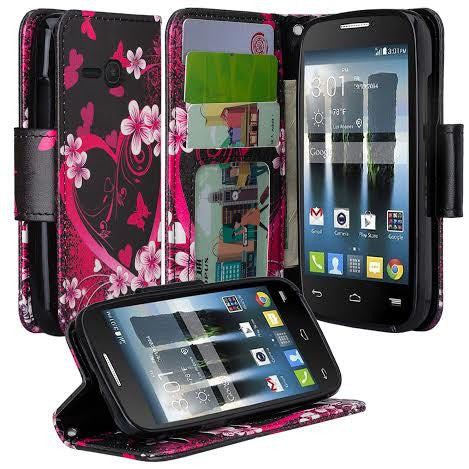 Alcatel Pixi Eclipse Wallet Case, Heart butterflies, www.coverlabusa.com