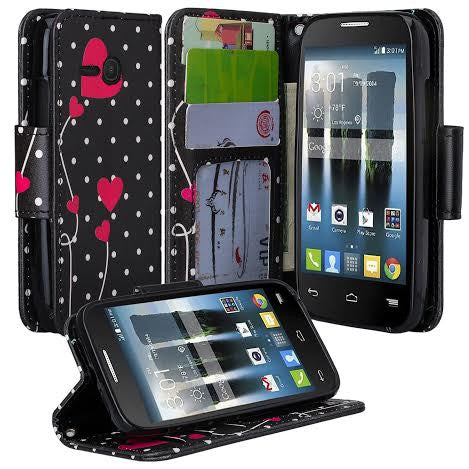 Alcatel Pixi Eclipse Wallet Case, Polka Dot Hearts, www.coverlabusa.com