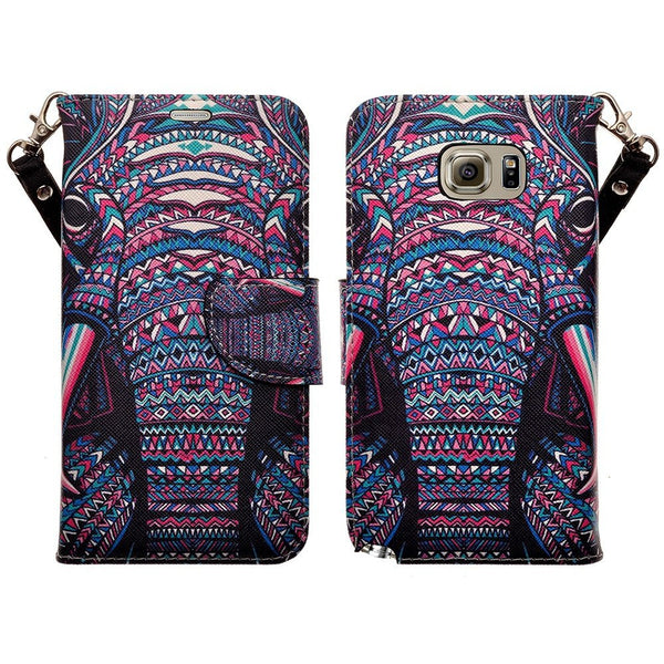 Galaxy Note 5 Case, Wrist Strap Magnetic Fold[Kickstand] Pu Leather Wallet Case with ID & Credit Card Slots for Samsung Galaxy Note 5 - Tribal Elephant