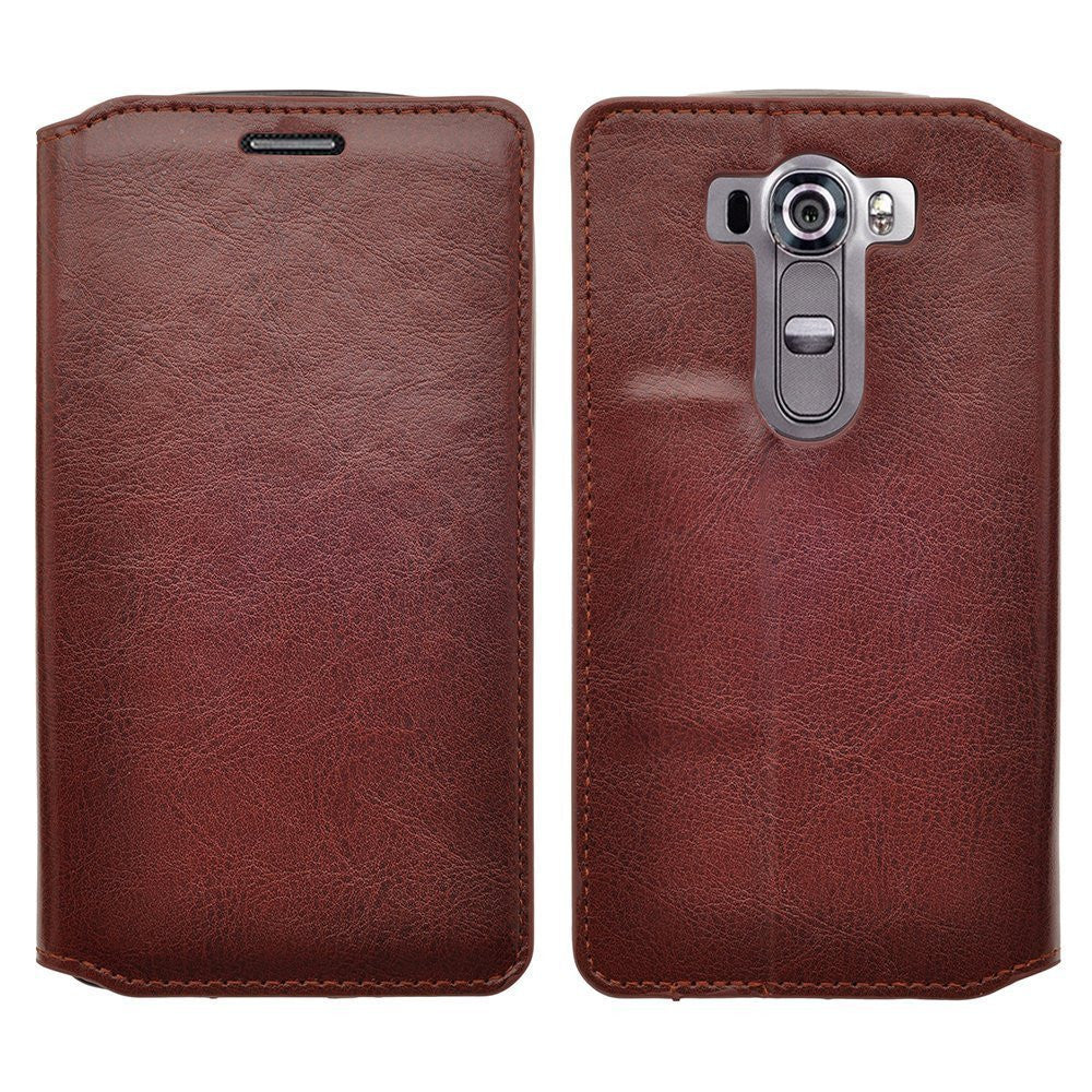 LG G Stylo Case, LG G Vista 2 Case Leather Wallet Case - Brown - www.coverlabusa.com