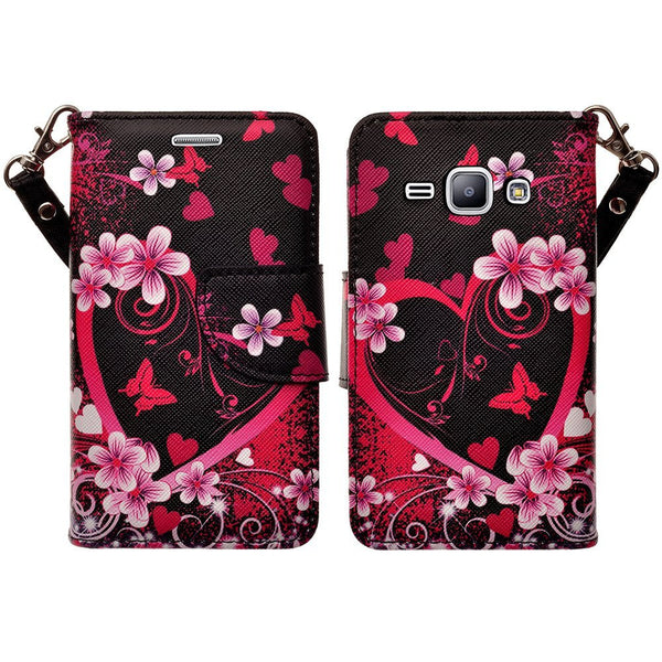 Galaxy go prime / Grand prime hot pink hearts wallet www.coverlabusa.com