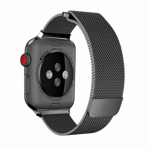 Apple iWatch Band Stainless Steel Mesh Milanese Loop - Black - www.coverlabusa.com