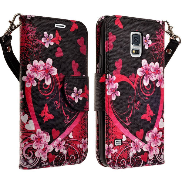 samsung galaxy S5 leather wallet case - heart butterflies - www.coverlabusa.com