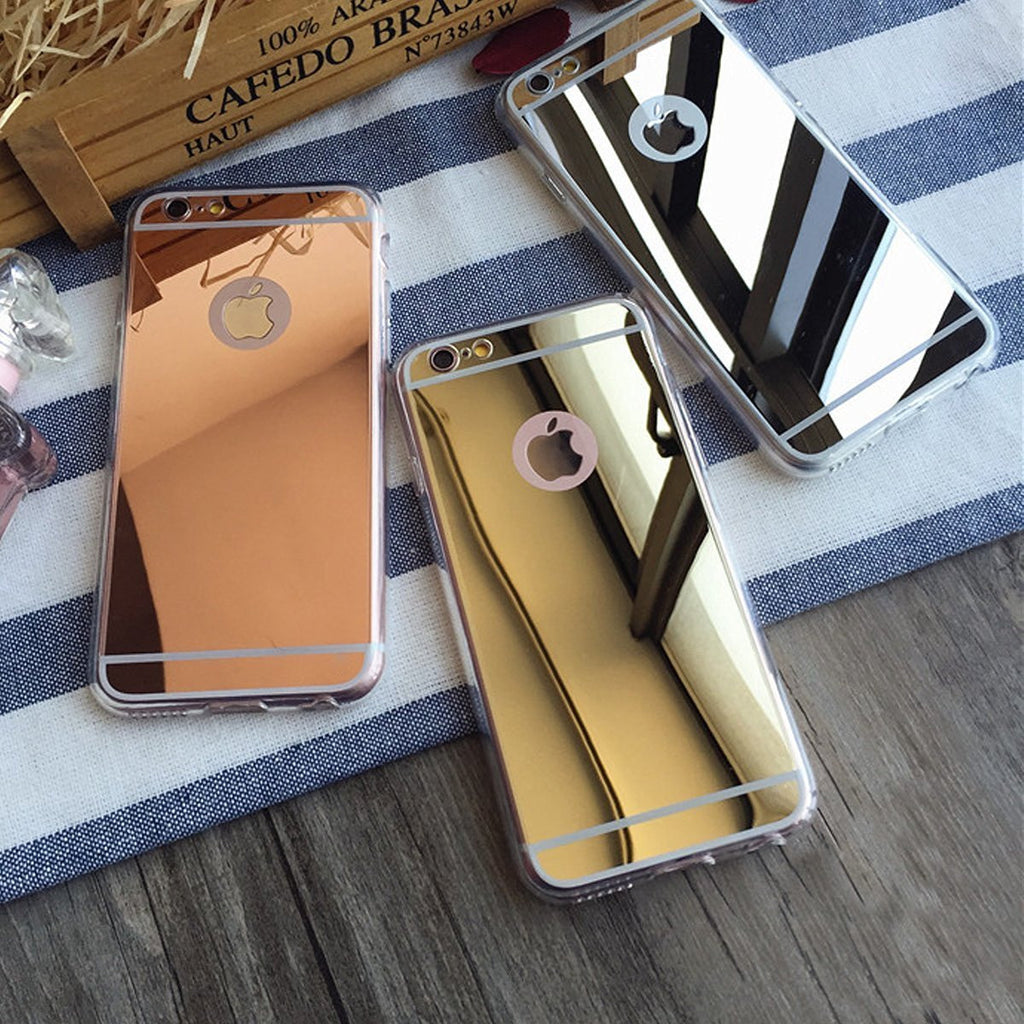 new product 7cc37 c60f9 For Apple iPhone 7 Case, Reflective Mirror Easy Grip Slim Armor Case for  Iphone 7 - Gold