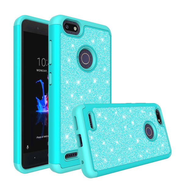 ZTE Blade Force Glitter Hybrid Case - Teal - www.coverlabusa.com