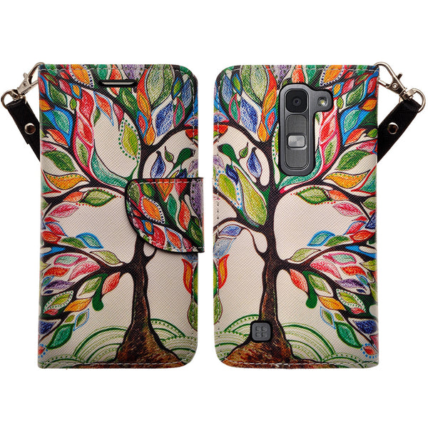 lg volt2 wallet case - colorful tree - www.coverlabusa.com