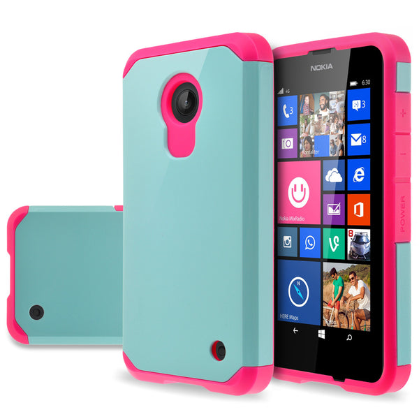 Nokia Lumia 635 Slim Hybrid Dual Layer Case - Teal/Hot Pink - www.coverlabusa.com