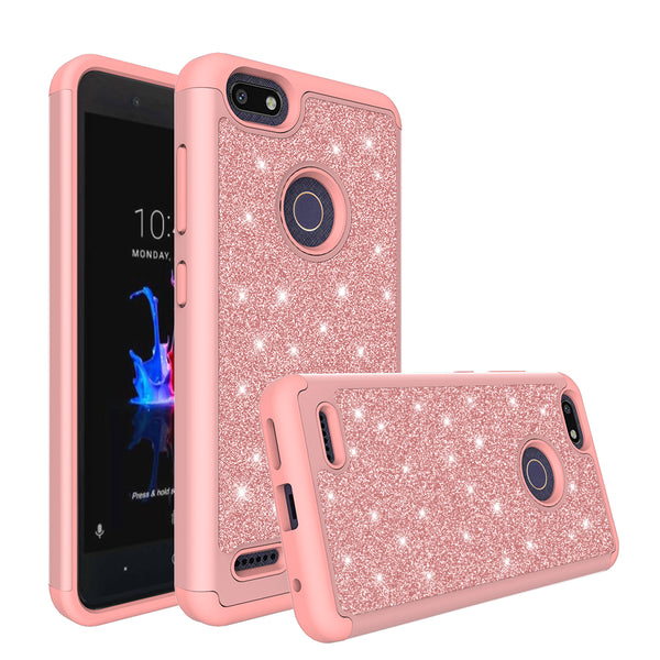 ZTE Blade Force Glitter Hybrid Case - Rose Gold - www.coverlabusa.com