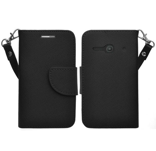 Alcatel Onetouch Evolve 2 Pu leather wallet case - Black - www.coverlabusa.com