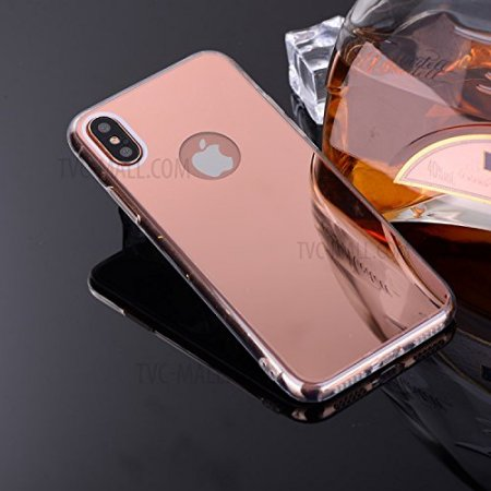 Apple iPhone X Case, Iphone 10, Reflective Mirror Easy Grip Slim Armor Case for Iphone X - Rose Gold
