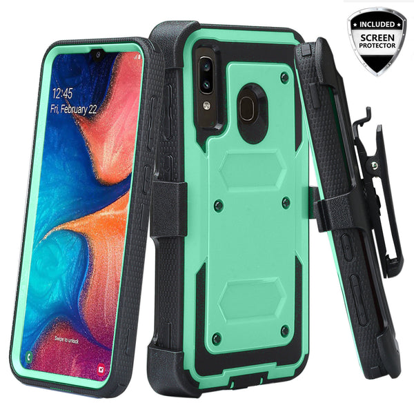 samsung galaxy a20 heavy duty holster case - teal - www.coverlabusa.com