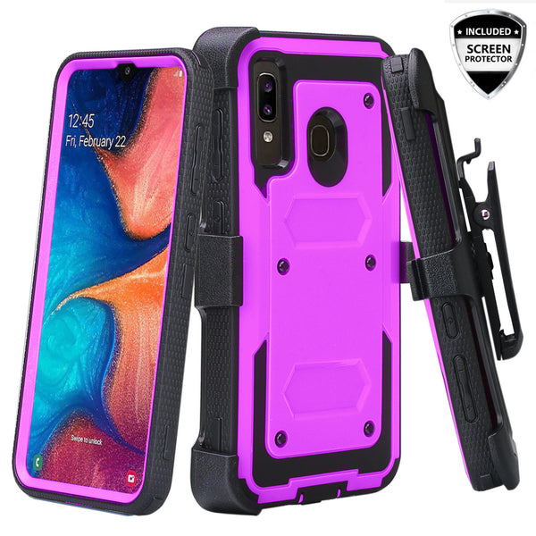 samsung galaxy a20 heavy duty holster case - purple - www.coverlabusa.com