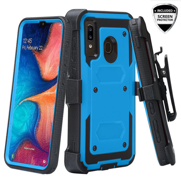 samsung galaxy a20 heavy duty holster case - blue - www.coverlabusa.com